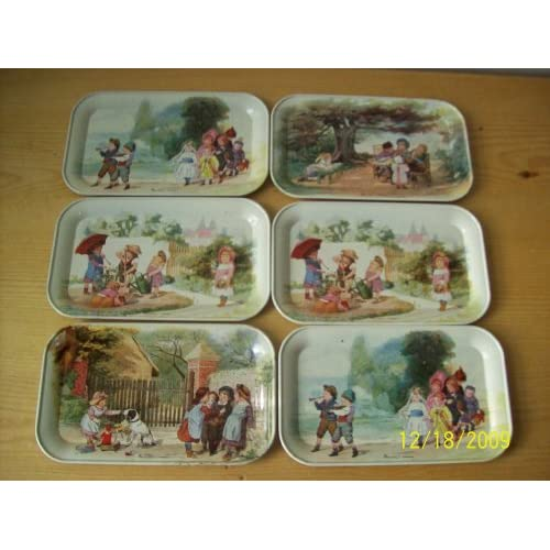 Amazon.com : Vintage Massilly, France Children Playing Tin Trays (Set