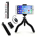 Universal Flexible Mini Tripod (Lightweight) w/ Ball Head for Cameras, iPhone 6 Plus, and other Smartphone Devices - Mount Adapter + Bluetooth Remote Shutter (Wrist Strap)
