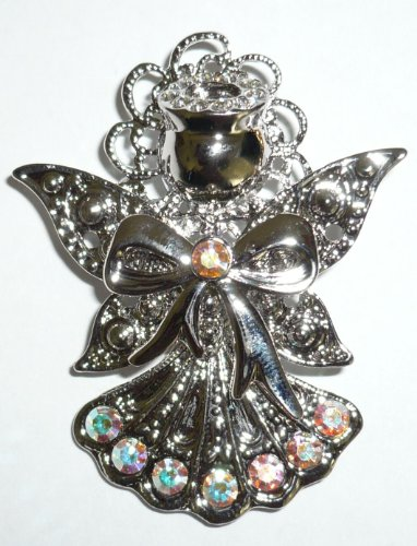 Silverplated Crystal Angels Pin
