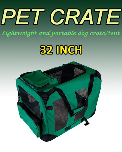 New Large Dog Pet Puppy Portable Foldable Soft Crate Playpen Kennel House - Green front-1089396