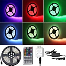 Besdata 16.4ft 5M Waterproof Rope Lights 300 LED 5050 SMD Color Changing RGB Flexible LED Strip Light + 12V 6A Power Supply + Remote + IR Controller - Muliticolored - PL709A_CA