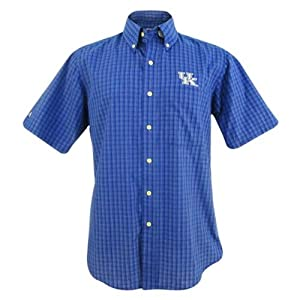 Kentucky Wildcats Mens Reflex Button-Down Plaid Short Sleeve Shirt by Antigua