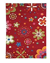 Area Rug, Bright Red Kids Daisy Flowers Soft Wool Carpet, 3\' X 5\'