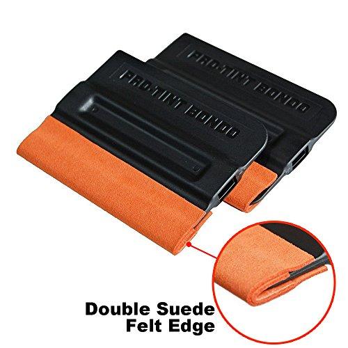 Ehdis Pro-Tint Bondo Car Squeegee Decal Vinyl Wrap Window Tint Application Tool Double Suede Soft Felt for Edge Scraper 4 Inch - 2 Pcs (Pro Tint Windows compare prices)