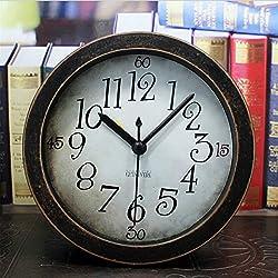 FirstDecor 5 inch Black Analog Table Clock Arabic numbers Vintage Wood Pattern Silent Non-ticking Quartz Desk Clock Alarm Clock Round Desk Clocks 3D Clock