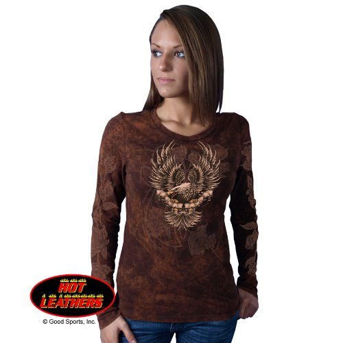 Hot Leathers Upwing Eagle & Roses Ladies Long Sleeve Tee (Sand Brown, Medium)