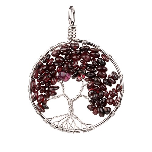 banshren-alloy-plated-garnet-round-eternal-tree-of-life-with-gravel-charm-pendant-healing-diy-neckla
