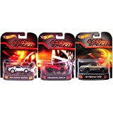 Need for Speed Hot Wheels 3 Car Set -Pontiac GTO, Mustang & Koenigsegg Agera Retro Entertainment Die Cast 1:64 three pack 2014 (Color: red, silver, gold)