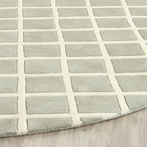 Safavieh Chatham Collection CHT718E Handmade Grey and Ivory Wool Area Rug, 3 feet by 5 feet (3' x 5')