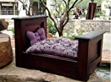 """Luxury Dog Bed - Mahogany Mini Headboard/Footboard Dog Bed (Complete Set) Includes - Bed, Mattress, Mattress Cover & Sheet - 22""""H x 22""""W x 35""""D - Made in USA"""