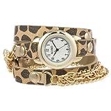 Reloj XOXO XO5624 para mujer con pulsera en estampado de leopardo con cadenas.