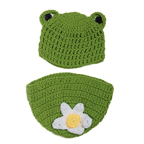 Elee Frog Baby Handmade Crochet Knit Hat &Diaper Cover Photography Prop Set (#2)