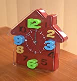 NOVICZ House Shape Analog Alarm Clock Bedside Desk Alarm Clock Bedroom Kids Room Timepiece Table Clock ...