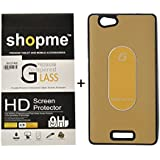 Shopme HD Tempered Glass, Bubble Proof,Anti Glare For Gionee Marathon M2 With Silicon Metal (Golden) Back Cover