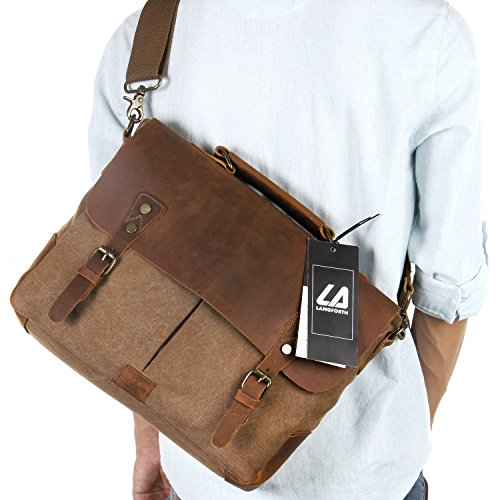 Read About Langforth Genuine Leather Vintage 14 Laptop Canvas Messenger Satchel Bag Coffee 13(L)x1...