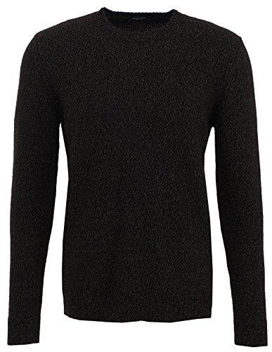 Roberto Collina Pullover da uomo in lana merino con cachemire nero/marrone melange