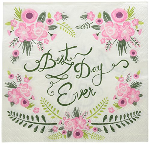 Ginger Ray Floral Fancy Design Best Day Ever Party Paper Napkins, Mixed