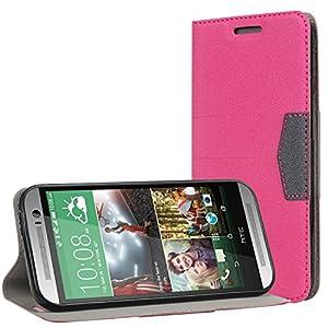Bestwe Hot Pink Schutzhülle Hülle für HTC One M8 (Modell 2014) Flip Case
