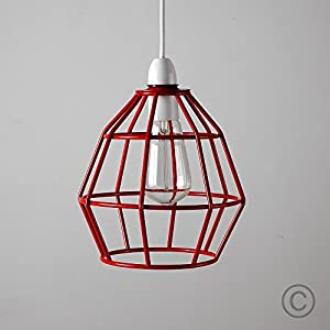 Contemporary Gloss Red Metal Basket Cage Designer Style Pendant Ceiling Light Shade by MiniSun