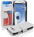 Cadorabo ! PREMIUM - Book Style Hülle im Portemonnaie Design für Samsung Galaxy S3 und S3 NEO (GT-i9300 / GT-i9301) in MAGNESIUM-WEIß