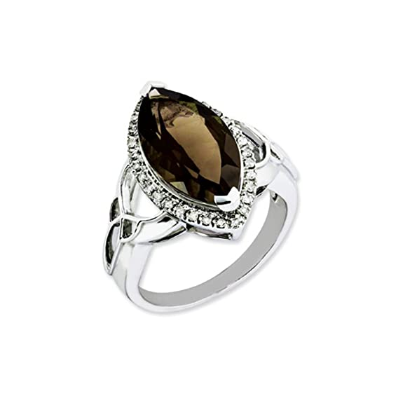 Black Bow Jewellery Company : Marquise Smokey Quartz and Diamond Silver Cocktail Ring