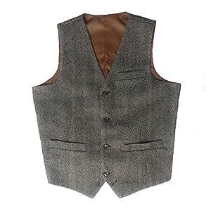 Tailorsun Mens Tweed HerringboneVintage Wedding Vest Grey (US 34)