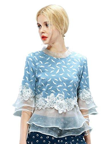 Elf Sack Womens Autumn Blouse Sweet Round Neck Denim Stitching Organza Large Size Blue