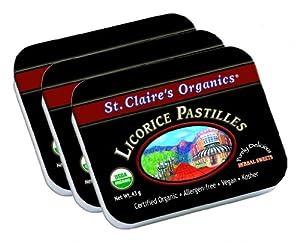 St. Claire's Organics® Licorice Pastilles, 1.5 oz Tin (Bundle of 3)