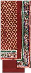 Gunjan Women's Brocade & Georgette Unstitched Salwar Suit (Maroon)