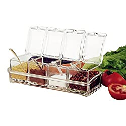 Spice Racks Acrylic Seasoning Box with Cover and Spoon Spice Jar Set Condiment Cruet Bottle for Kitchen Supplies