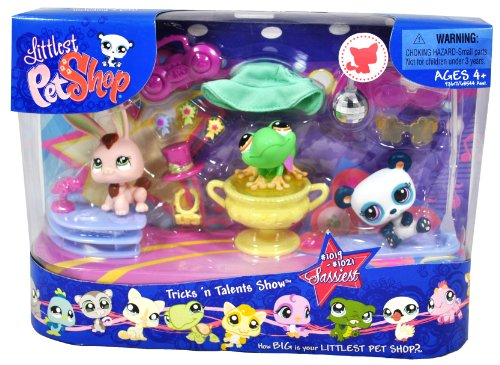 Buy Low Price Hasbro Littlest Pet Shop Sassiest Series 3 Pack Bobble Head Pet Figure Box Set – TRICKS n' TALENTS SHOW with Bunny Rabbit (#1019), Green Frog (#1020), Panda (#1021), Trophy, Hat, Bow Tie, Microphone, Stage, Hat, Disco Ball with Stand, Boombox, 2 Sunglasses and 3 Medals (B004GQ3KCY)