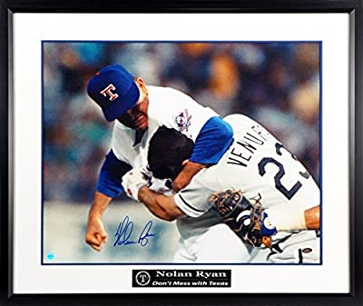 "Texas Rangers Nolan Ryan Autographed ""vs. Ventura"" 16x20 Photograph with ""Don't Mess with Texas"" Floating Plate Framed (COA)"