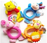 Disney Animal Baby Plush Rattle Handbell 4pcs(tiger,winnie the pooh,pigiet,eyeore)