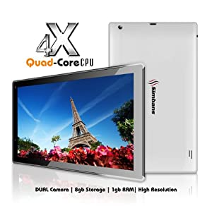 Simbans (TM) SX2W 10 Inch Quad Core Tablet PC - Android 4.4 KitKat, HD Screen, HDMI, Bluetooth [Thin, Light and Powerful Model] -WHITE