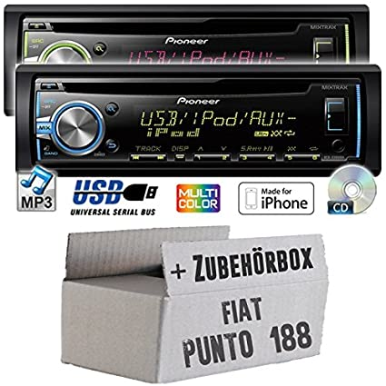 Fiat punto 188 pioneer dEH-x3800UI-cD/mP3/uSB avec kit de montage