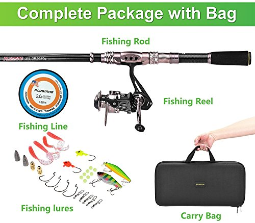PLUSINNO Spinning Rod and Reel Combos FULL KIT Telescopic Fishing Rod Pole with Reel Line Lures Hooks Fishing Carrier Bag Case and Accessories Fishing Gear Organizer (Fishing Rod And Reel Case compare prices)