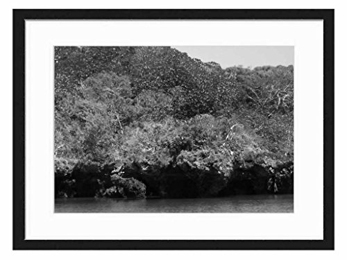 Menai Bay lagoon. Zanzibar - Art Print Wall Solid Wood Framed Picture (Black & White 20x14 inches)