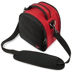 VangoddyTM Elegant Laurel Red Handbag Camera Bag with Rear Accessory Pocket and Shoulder Strap for Canon DSLR Camera EOS 550D (EOS Rebel T2i / EOS Kiss X4) EOS 500D (EOS Rebel T1i / EOS Kiss X3) EOS 60D EOS 7D Canon EOS 50D EOS 5D Mark II