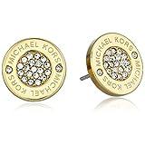 Michael Kors Gold Tone Logo Pave Stud Earrings (Color: Gold Pave Circle)