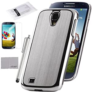 S4 Case, Samsung Galaxy S4 Case, ULAK Silver Luxury Aluminum Chrome Hard Case For Samsung Galaxy S4 IV i9500 with Screen Protector and Stylus (Silver)