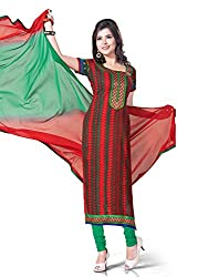 Red & Green Cotton Printed Unstitcehd Dress Material