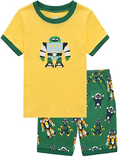 Family Feeling Robot Little Boys Shorts Set Pajamas 100% Cotton Clothes Toddler Kid 5T (Robot 5t compare prices)