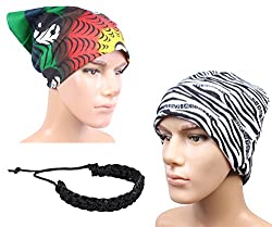 Sushito Stylish Zebra Lines Warm Beanies Cap With Stylish Headwrap & Wrist Band