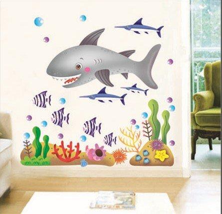 Undersea Big Shark Baby'S Bedroom Wall Decal Ocean Fish Wall Decor For Nursery Room Boys Kid'S Room Sticker Mural front-752203