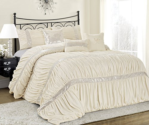 7 Piece CLARAITA Chic Ruched Pleated Comforter Set-Queen King Cal.King Size (Queen, Ivory) Queen