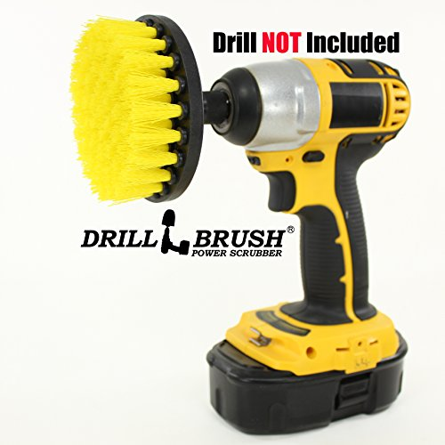 4 Inch Diameter Power Spinning Detailing Nylon Scrub Brush With Quarter Inch Quick Change Shaft (Power Grout Cleaning Brush compare prices)