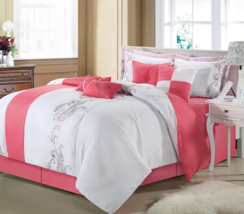 Chic Home Ann Harbor 12-Piece Bed In A Bag, Queen, Pink front-27178