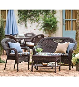 Prospect Hill Outdoor Resin Wicker Furniture Seating Set - Chair, Settee And Coffee Table