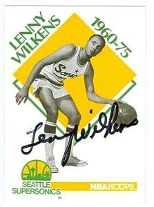 Lenny Wilkens autographed Basketball Card (Seattle Sonics) 1991 NBA Hoops #349 (67)