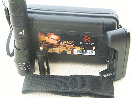 Reizarf Super Bright Handheld CREE XML T6 Military Tactical Flashlight w/ Battery & Charger & Carrying Case Camping Torch Adjustable Focus Zoom Water Proof Outdoor Sports Hunting Fishing Hiking